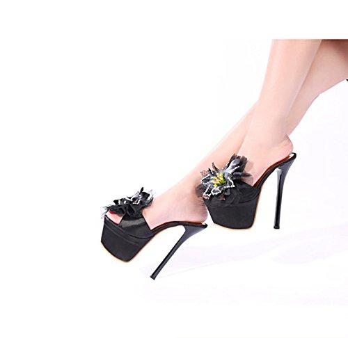 GTVERNH-8.5cm scarpe nere le scarpe con i tacchi a spillo sexy summer diamond flower scarpe a bocca di pesce locale forte pantofole,35 Forty