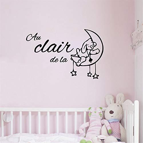 Nette Karikaturfrankreich-Babyraumdekoration, die Au clair de la Lune Vinylwandaufkleberfranzosen versendet, scherzt Schlafzimmerdekor 1 60 * 38cm (Halloween Rip Namen)
