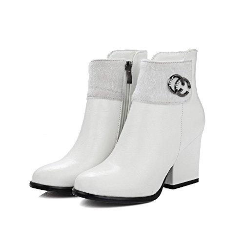 AllhqFashion Damen Gemischte Farbe Hoher Absatz Spitz Zehe Reißverschluss Stiefel, Weiß, 37