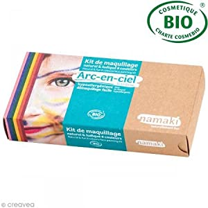 namaki K8AEC1 - Kit de maquillaje para disfraz, 8 colores para niños, unisex, amarillo, rosa, rojo, azul, naranja, verde, negro y blanco