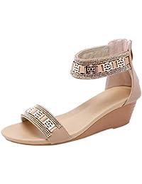 65966a691 KINJOHI Women s Boho Style Sandals Wedge Heel Bohemia Roman Sandals Summer  Holiday Shoes