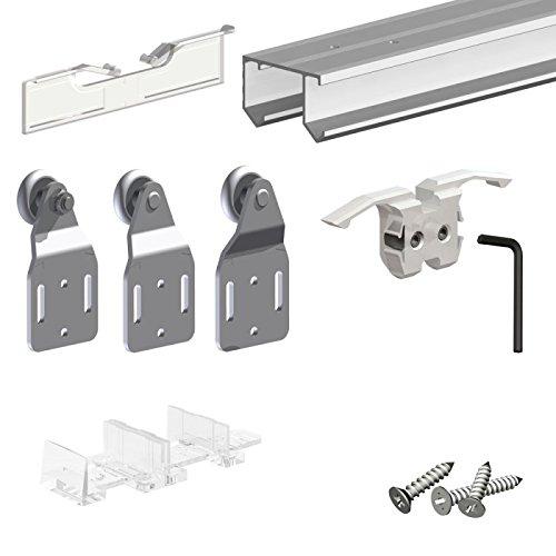 Kleiderschrank Türen (Schiebetürbeschlag SLID'UP 110, 240 cm, 3 Türen bis je 45 kg, für Schranktüren, Kleiderschränke, Nischen)