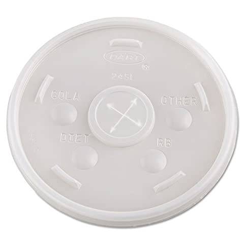 Dart 24SL05 Translucent Straw Slotted Plastic Lid for 24J24 Foam Cup (Case of 500) by Dart