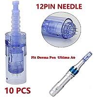 Derma Pen agujas Dr Pen Ultima A6 Dr Pen Needles Dr Pen Derma Pen Profesional Agujas Derma Pen Electrico Derma Pen 12 Pin/36 Pin/42 Pin Micro Agujas Rodillo Acido Hilareco (12 pines,10 PCS)