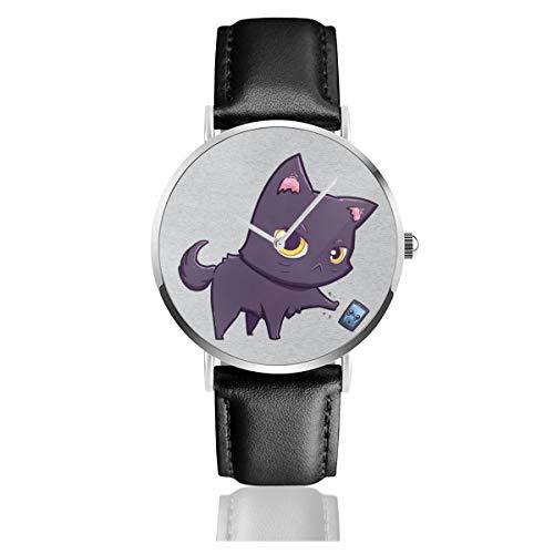 Unisex Business Casual Cat Hates Smartphone Uhren Quarz Leder Uhr mit schwarzem Lederband für Männer Frauen Young Collection Geschenk