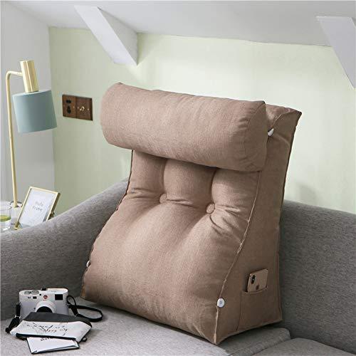 Linen Triangle Wedge Pillow,Tatami Reading Backrest Cushion Cushion Sofa Bed Office Chair Bay Window Cushion with Headrest Pillow-Khaki 45x55cm(18x22inch) -