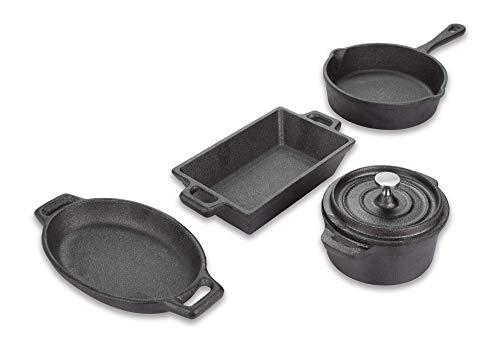 Valiant Miniature - Batería de Cocina 4 Piezas, Hierro Fundido, Color Negro