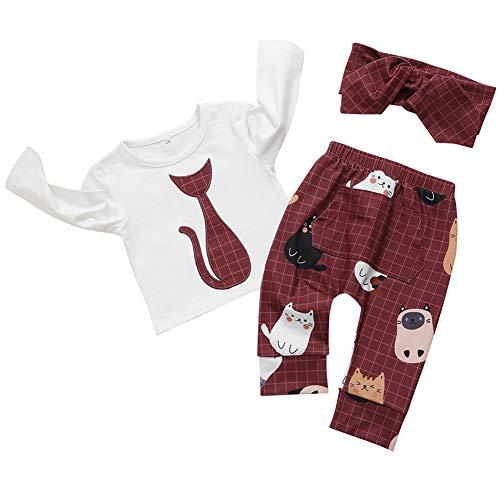 Mornyray 3 STÜCK Kleinkind Mädchen Plaid Cartoon Tier Muster Langarm T-Shirt Hosen Schal Set Size 84 (Red) - 3 Stück Plaid-t-shirt