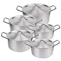 FALPRO Aluminium Cookware Set,10-Piece Pot set,Silver