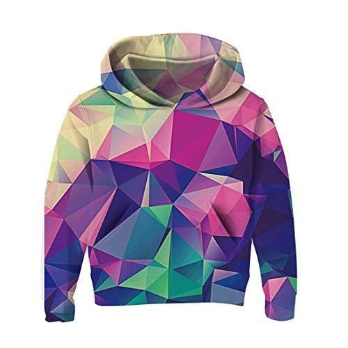 AIDEAONE Kinder Jungen Mädchen Kapuzenpullover 3D Print Fleece Pullover Hoodies Sweatshirt mit Kängurutasche (Diamond 1, 3-4 Years) Diamond Hoodie Pullover