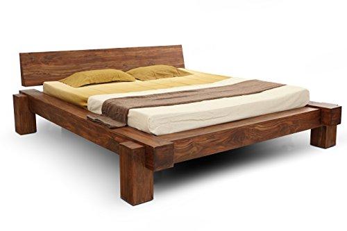 SAM® Massiv-Holzbett 180x200 cm, Yoga Big, nougat, Sheesham-Holz, Balkenbett mit geschlossenem Kopfteil, Unikat