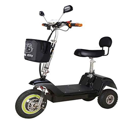 Home Arts Elektrisches Roller-erwachsenes Mini Elektrisches Dreirad, Mit herausnehmbarer Lithiumbatterie, Batteriestandsanzeige und 3 Gängen Black