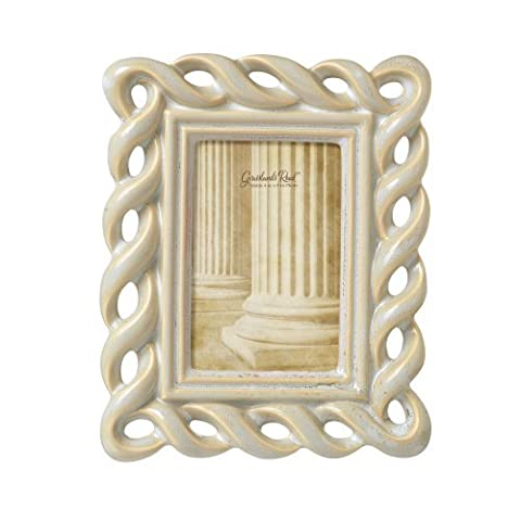 Grasslands Road Feather Gray Die Cut Twist Photo Frame, 4 by 6-Inch, Reactive Glaze, Ceramic, Gift Boxed by Grasslands Road