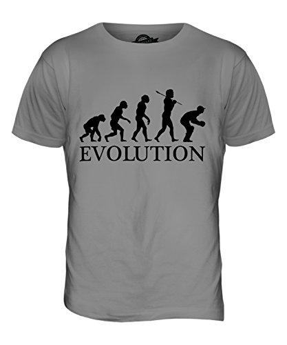 Candymix Cricket Wicket Keeper Evolution des Menschen Herren T Shirt, Größe 2X-Large, Farbe Hellgrau -