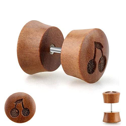 Treuheld Piercing Fake Plug - Holz - Braun - Kirschen [1.] - 8 mm -