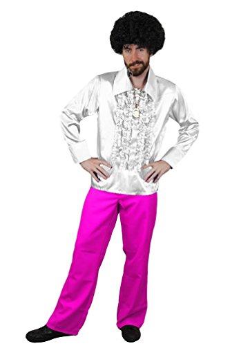 ILOVEFANCYDRESS Disco KOSTÜM FÜR DIE PERFEKTE Fasching ODER Karneval VERKLEIDUNG DER 70iger Jahre MUß FÜR Jede Party= WEIßES-Hemd IN Large +ROSA Hose IN XXLarge (Patrick Swayze Dirty Dancing Kostüm)