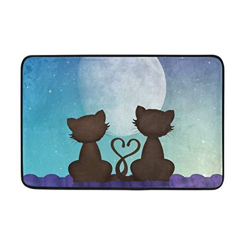 Klotr Fußabtreter, Cats in Love On Roof Doormat,Area Rug Rugs Non-Slip Indoor Outdoor Floor Mat Doormats for Home Decor 23.6 X 15.7 Inch -