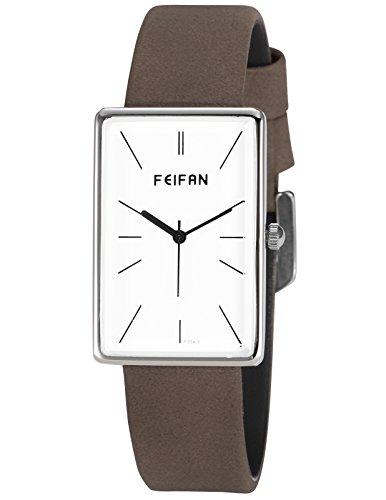 AMPM24 Damen Armbanduhr Rechteck Weiß Zifferblatt Grau Kunstleder Quarzwerk Uhr WAA1017