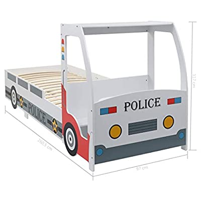 Festnight` Children's Police Car Bed with Desk 90x200 cm