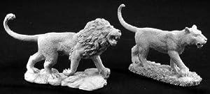 Reaper Miniatures 2776 - Leyendas Oscuras: el león y la Leona (2) (sin Pintar) Importado de Alemania