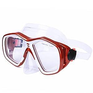 AcTopp Gafas de Buceo Anti-Golpe Anti-Presión Ultradurable Snorkeling Máscara de Buceo Unisex Color Negro/Rojo