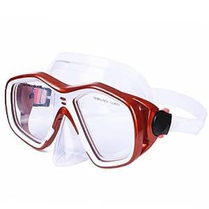 AcTopp Tauchmaske Erwachsene Taucherbrille Tauchermaske mit bruchfestem Hartglas hohe Druckfestigkeit Crashsicherheit Rot