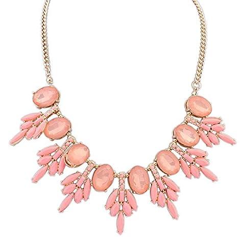 Sweet Bijoux De Mode Des Gouttelettes D'eau Personnalisés Collier De Pierres Précieuses,Pink-L