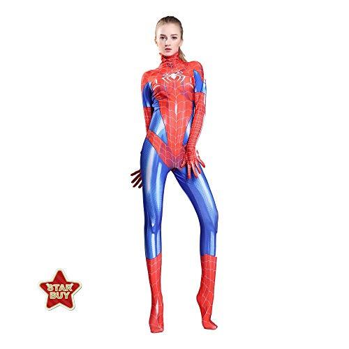 HEROMEN Weibliche Spiderman Cosplay Kostüm Lycra Siamese 3D Prin Strumpfhosen Weihnachten Halloween Kostüm Für Erwachsene/Kinder,Redchild-S (Weibliche Superhelden Kostüm Einfach)