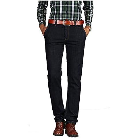 Cocominibox Uomini classici Relaxed gamba dritta regolari Jeans Pants Stretch Fit