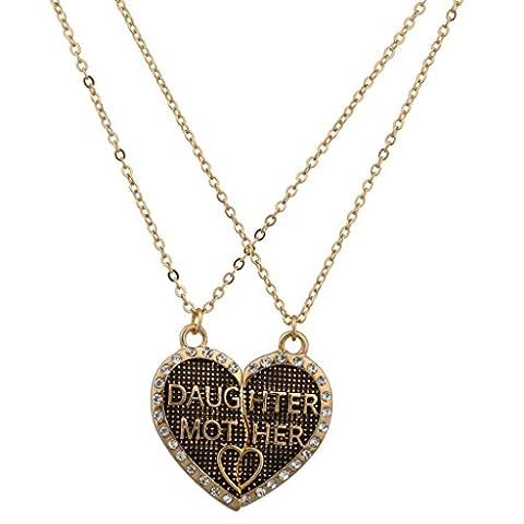 Lux Accessoires Fille Mère Mom Coeur Brisé serti texturé BFF Parure Collier Best Friends