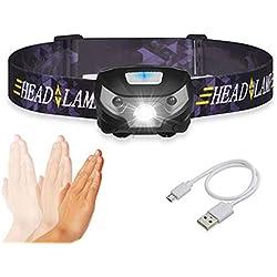 Ndier USB Rechargeable Lampe Frontale Lampe de Poche étanche Blanc Brillant/Rouge LED Pêche légère phares Noir Produits/Accessoires pour Sport
