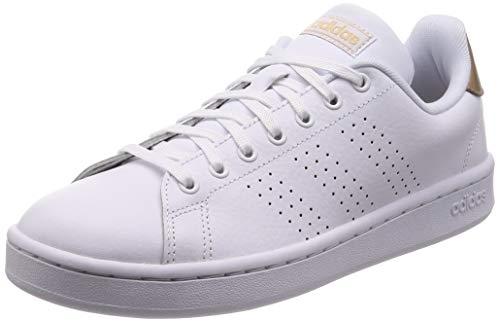 Adidas Advantage, Damen Hallenschuhe, Weiß (Ftwbla/Ftwbla/Cobmet 000), 39 1/3 EU (6 UK) (Adidas Turnschuhe Weiß Damen)