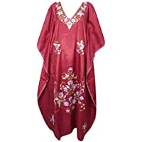 Mogul Interior Women Caftan Silk Embroidered Maroon Kimono Sleeve Maxi Kaftan Dress One Size