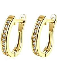 0b8b7d96b073 TPHui Pendientes para mujer Pendientes pequeños de oro Pendientes de aro  Joyas para mujer Circonio cúbico
