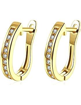 TPHui Frauen Ohrringe Kleine Gold Ohrringe Hoop Ohrringe Schmuck Kubische Zirkonia Kristallband Ohrstecker 18K...