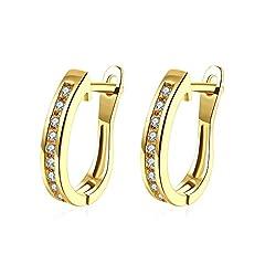 Idea Regalo - Tphui, piccoli orecchini da donna, a cerchio, d'oro, con cristalli in zirconia cubica, con perno, in oro giallo da 18 ct
