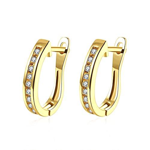 TPHui Frauen Ohrringe Kleine Gold Ohrringe Hoop Ohrringe Schmuck Kubische Zirkonia Kristallband Ohrstecker 18K gold