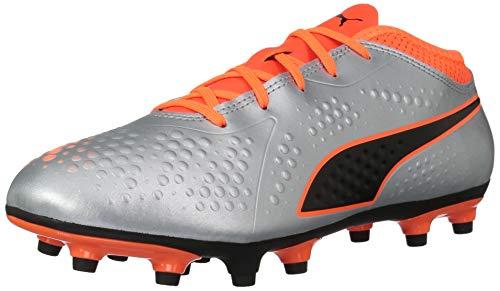 PUMA Unisex ONE 4 Syn FG Jr Soccer Shoe Silver-Shocking Orange Black  2 5 M US Big Kid