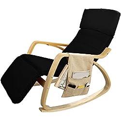 SoBuy® sillón de relada, Silla de relada, mecedora , con Organizador colgante, negro, FST16-SCH,ES