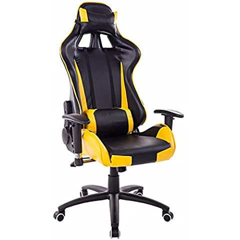 Sedia elettrica reclinabile sedia computer home sedi giochi Internet sports racing sede Sedia ufficio,nero e giallo,piedini in nylon