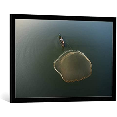 """Quadro con cornice: sarawut intarob """"Fisherman, Amarapura, Mandalay, Burma, Myanmar"""" - stampa artistica decorativa, cornice di alta qualità, 90x60 cm, nero / angolo grigio"""