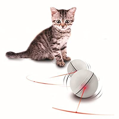 CreaTion® ABS Magic LED Light Flash Rolling Pet Ball Toy - Electronic Toys For Cats And Puppy Dogs Training Move Interactive,2.5 inches (White)