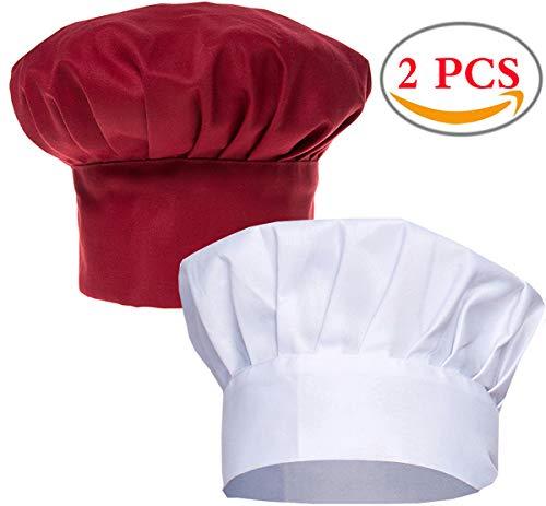 Liuer 2 Stück Verstellbare Baumwolle Kochmütze Küche Kochen Chef Cap für Damen Männer Koch Cupcake Cafe Kellnerin Männlicher Kellner Lebensmittel Restaurants Home Kitchen Catering Equipment