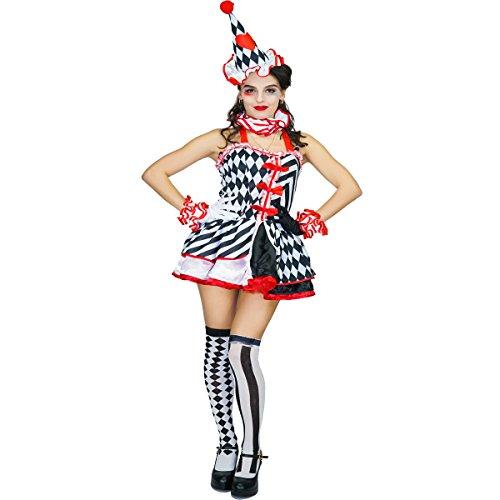 kin Clown Phantasie Halloween-Kostüm (Harlekin Kostüm Kostüme)