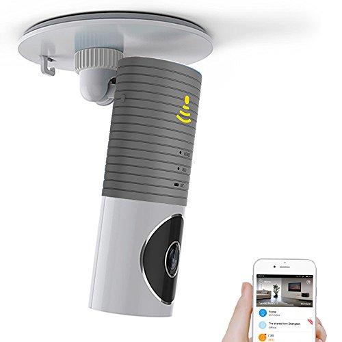 Galleria fotografica Clever Dog Telecamere di sicurezza senza fili di Wifi / Smart Baby Monitor / telecamera di sorveglianza di sorveglianza con P2P, visione notturna, video record, audio bidirezionale, rilevazione di movimento, messaggi di avviso per Iphone Ipad Android Smartphone (grigio)