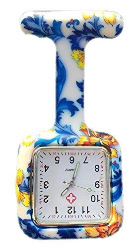 Boolavard® tm infermieri moda colorato fantasia silicone gomma fob orologi - fiori blu quadrato