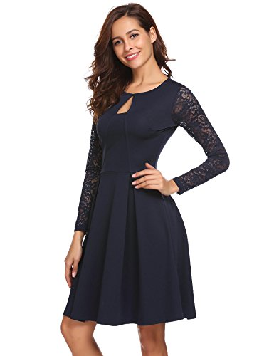 Beyove Damen Elegant Kleid Spitzenkleid Partykleid Cocktailkleid Abendkleider Ballkleider Festliches Kleid Langarm A Linie Knielang Blau