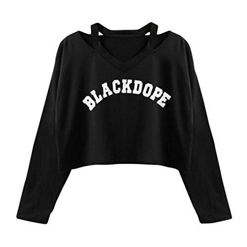 Sweats Femmes Angelof Pull FillesManches Longues Lettre Imprimer Tops Causal Chemisier Court Chic Dame Sweatshirt Noir (L)