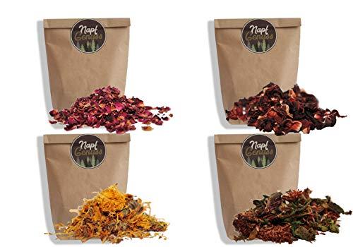 NapfGenuss 4er Pack Blüten-Set für Nager   3x100g + 1x250g   550g   ohne Zusätze   plastikfreier Versand   von Einem kleinen schwarzwälder Unternehmen