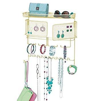 Mdesign espositore per gioielli da appendere – porta gioielli con 17 ganci – ideale espositore bigiotteria porta orecchini, anelli, occhiali, collane ed accessori – oro